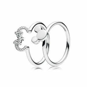 Disney PANDORA Minnie Mouse Ring 2 pc Set ❤️